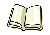 open book, cartoon loose illustration showing blank pages