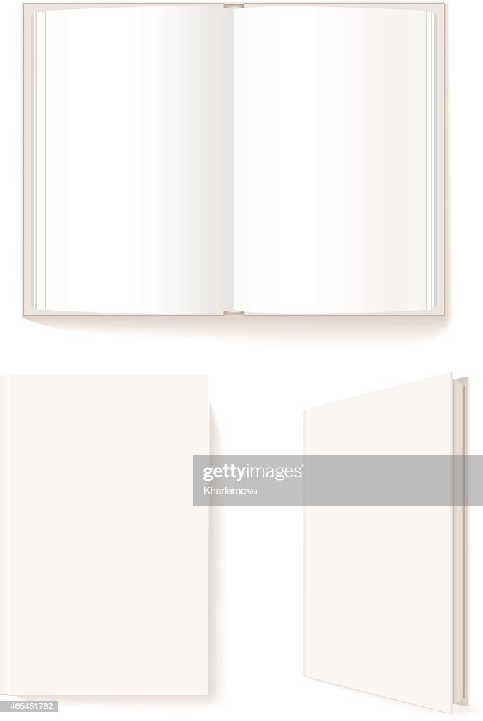 Open book, closed book, blank book cover three-quarter