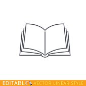 Open book. Editable outline sketch icon.