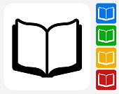 Open Book Icon Flat Graphic Design