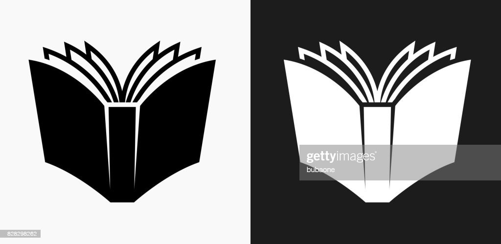 Open Book Icon On Black And White Vector Backgrounds Art