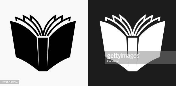 open book icon on black and white vector backgrounds - book stock illustrations