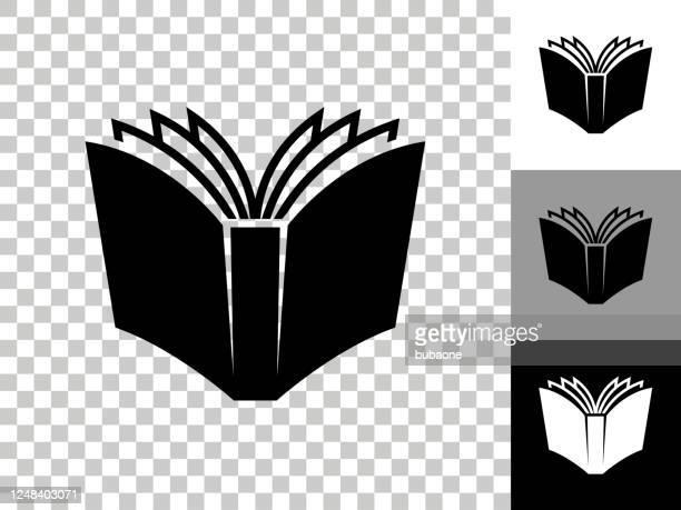 öffnen sie das buchsymbol auf dem transparenten hintergrund des schachbretts - buch stock-grafiken, -clipart, -cartoons und -symbole