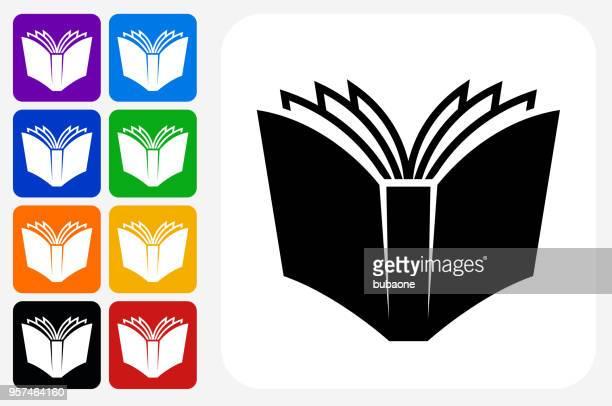 ilustraciones, imágenes clip art, dibujos animados e iconos de stock de abrir libro icono cuadrado botón set - libros volando
