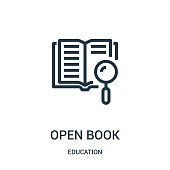 open book icon vector from education collection. Thin line open book outline icon vector illustration. Linear symbol for use on web and mobile apps, logo, print media.