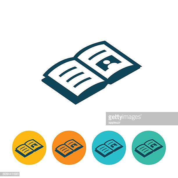 open book icon - magazine stock illustrations