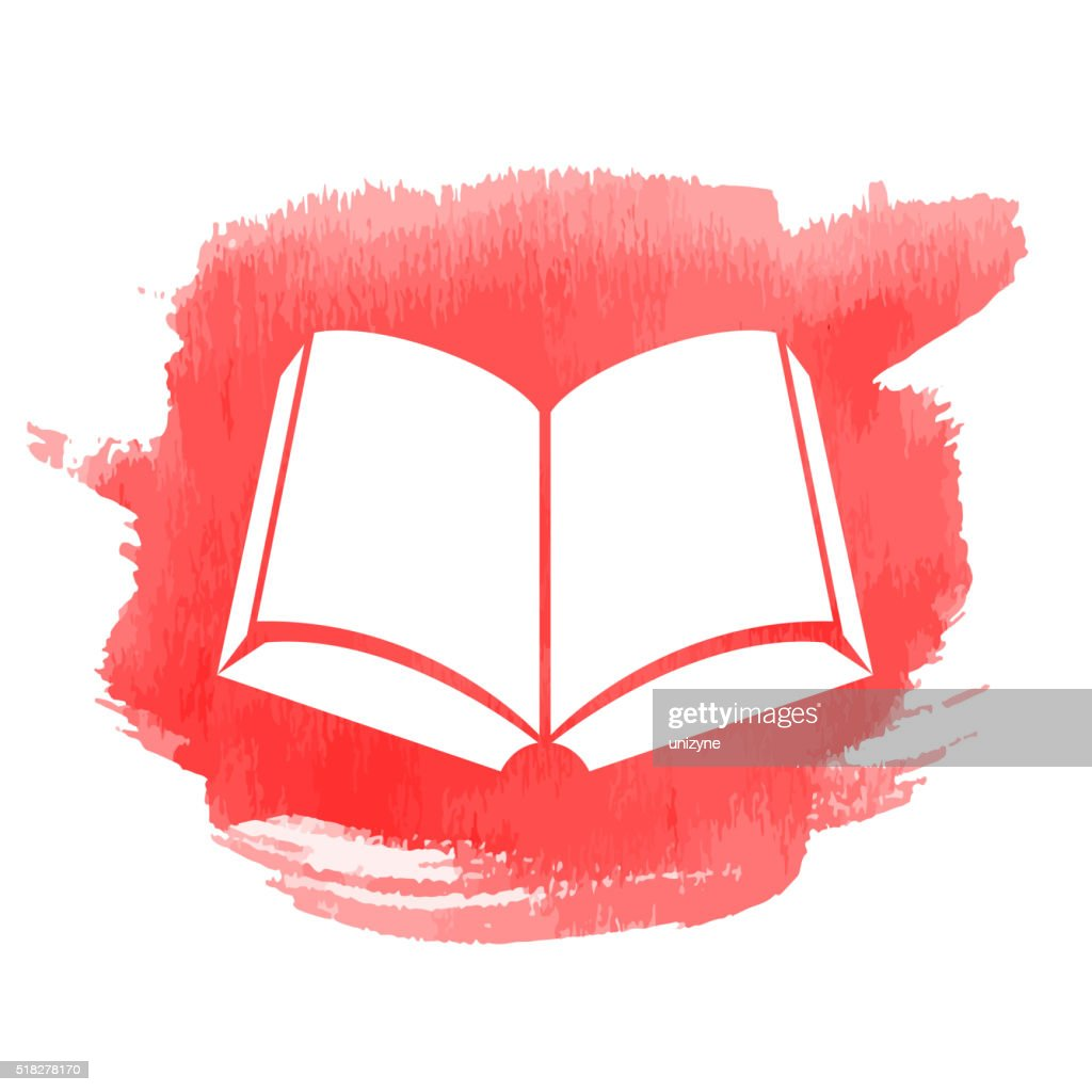 Open Book Icon With Watercolor Patch Vector Art | Getty Images