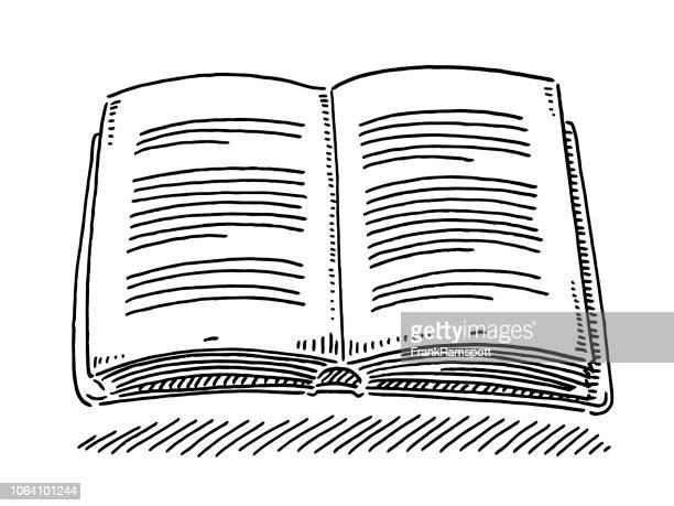 buch lesen zeichnung öffnen - buch stock-grafiken, -clipart, -cartoons und -symbole