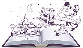 Open book story tale Magic lamp Aladdin