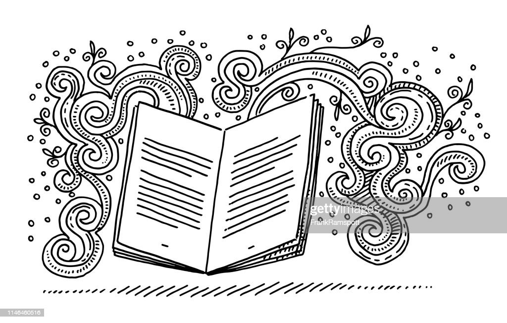 Open Book Storytelling Fantasy Doodle Drawing stock