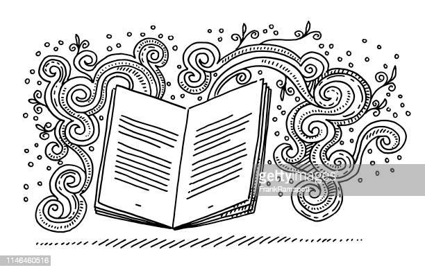 open book storytelling fantasy doodle drawing - reading stock illustrations