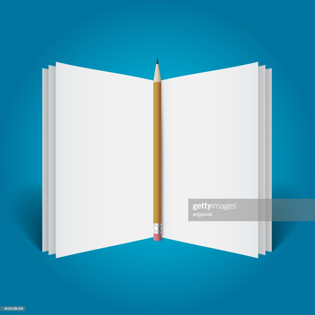 Open book template with pencil