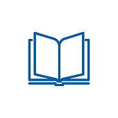 Open book thin line icon. Vector design illustration