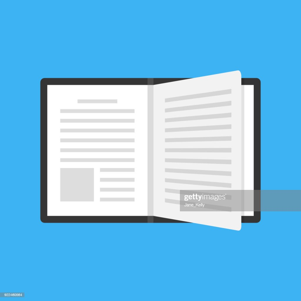 Open book with black cover and turning page. Flat design. Top view. Vector icon