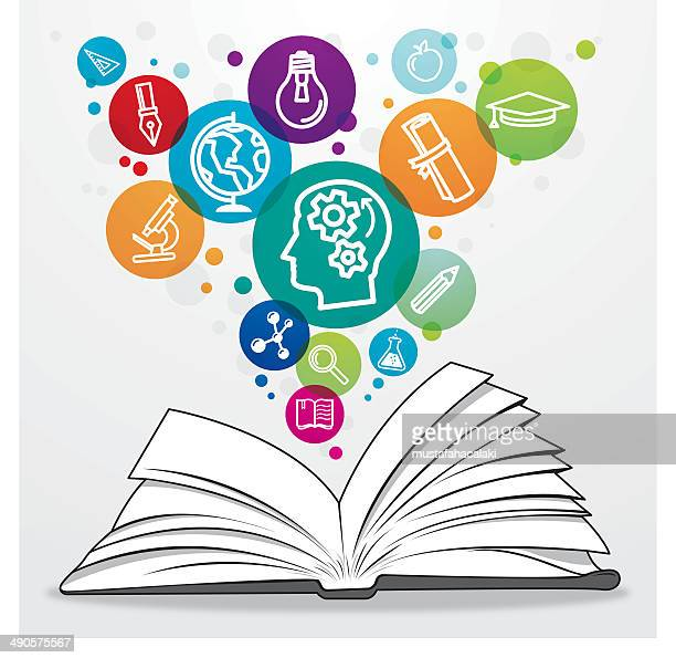 Open book with colourful education symbols