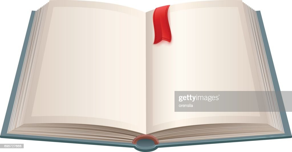 Open book with empty sheets and red bookmark