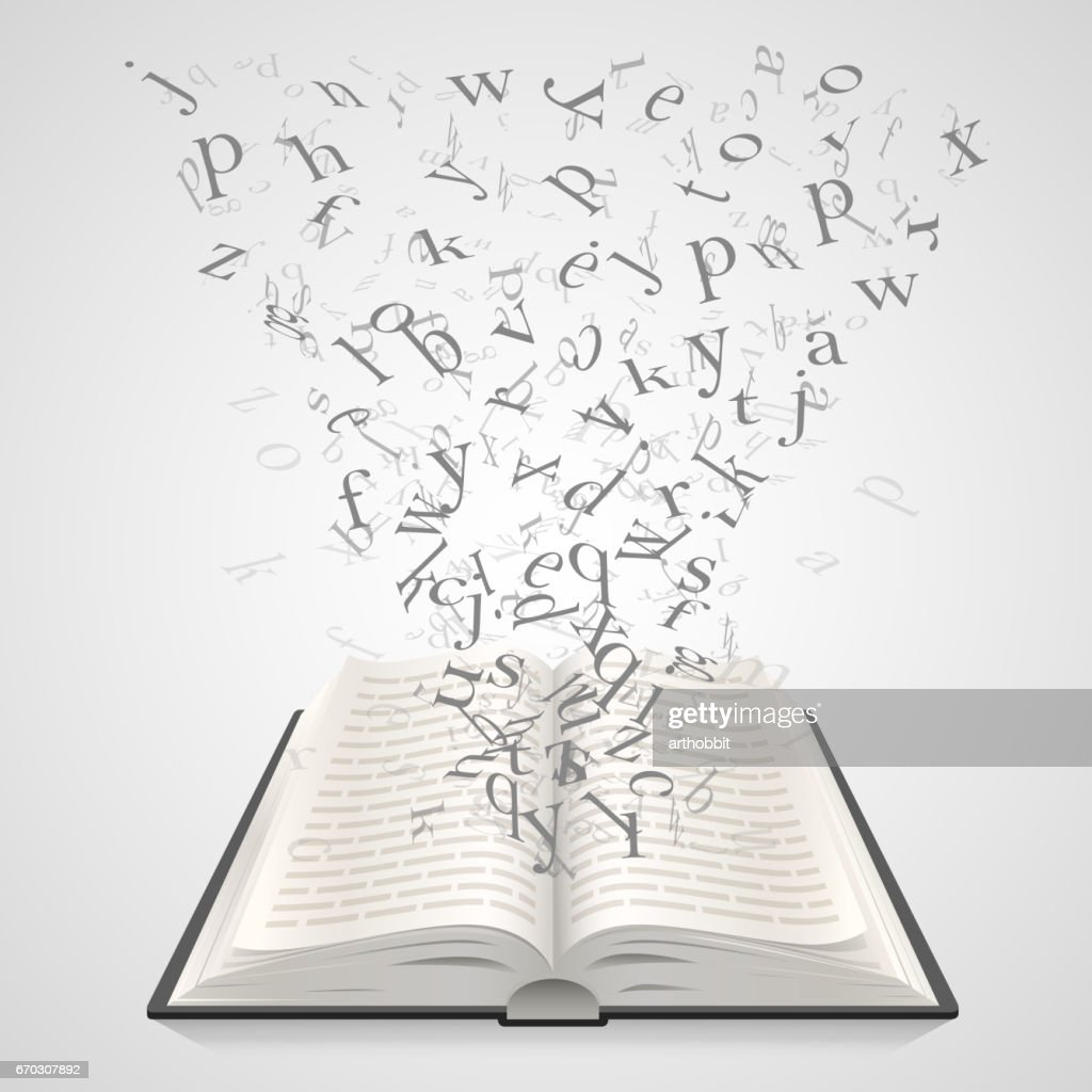 Open book with flying letters on a white background, education art. Vector illustration