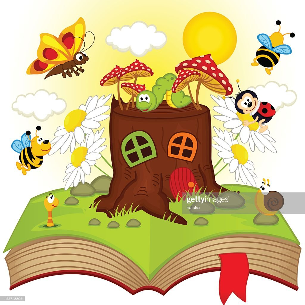 open book with house stump and insects