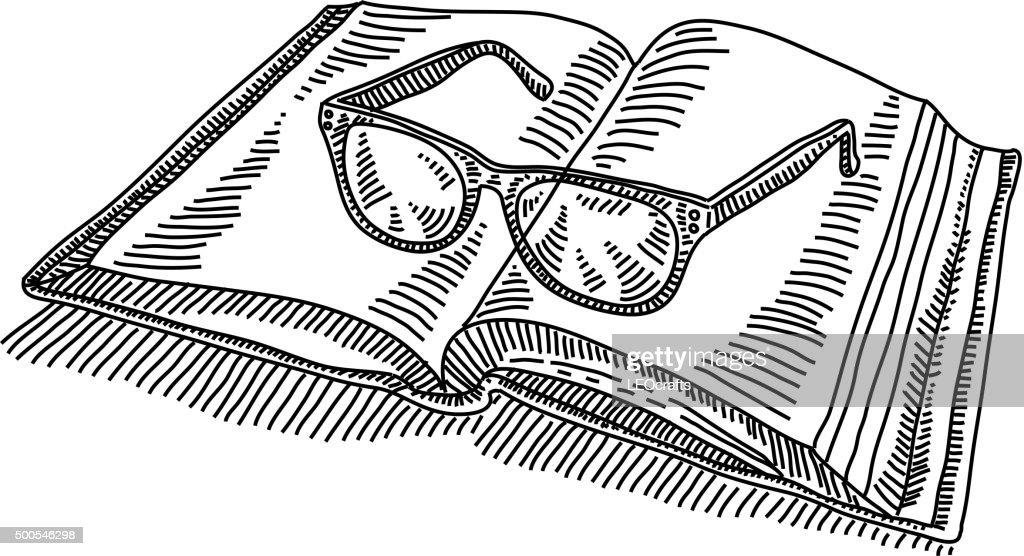 Open Book With Spectacles Drawing Stock Illustration - Getty