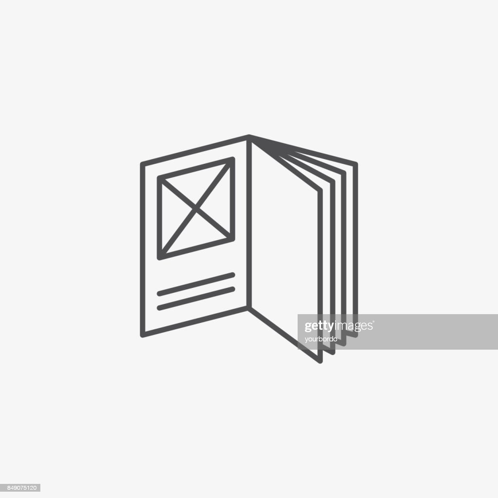 Open Booklet Vector Icon, Flat Vector Symbol of Design Brouchure