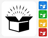 Open Box Icon Flat Graphic Design