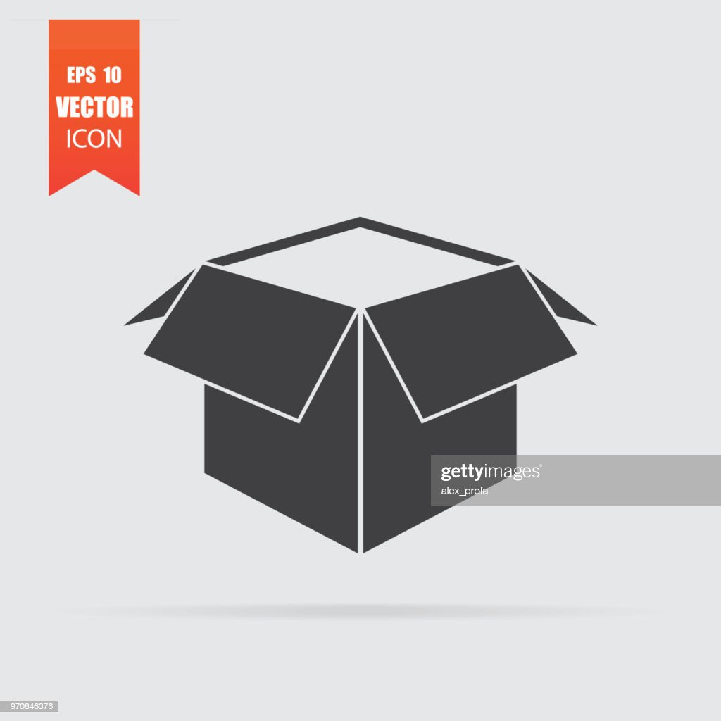 Open box icon in flat style isolated on grey background.