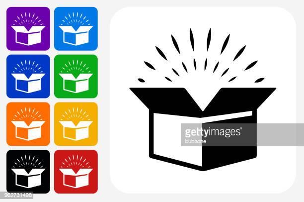 open box icon square button set - surprise stock illustrations