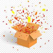 Open box with confetti, cardboard, vector container