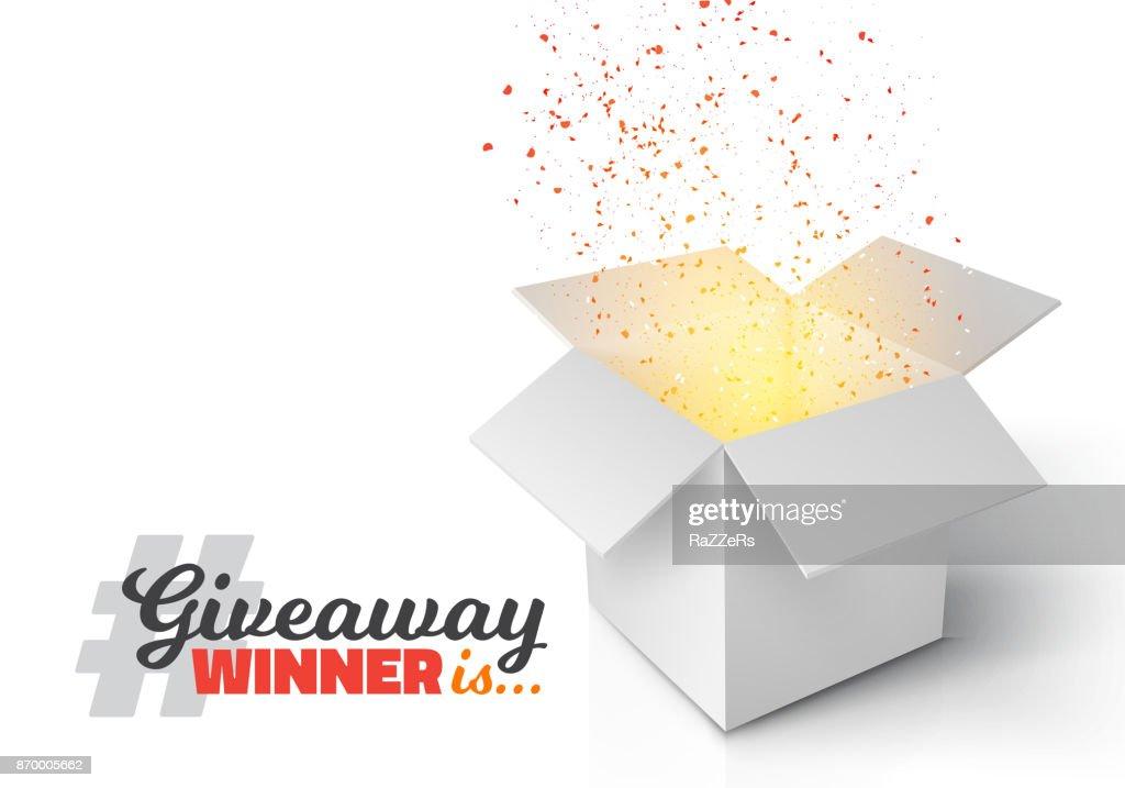 Open Box with Confetti Enter to Win Prize Concept