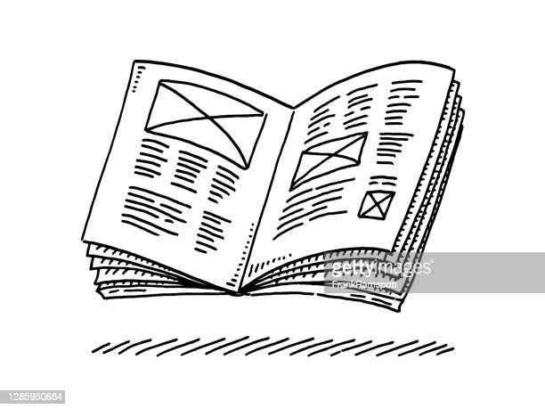 broschürensymbolzeichnung öffnen - zeitschrift stock-grafiken, -clipart, -cartoons und -symbole