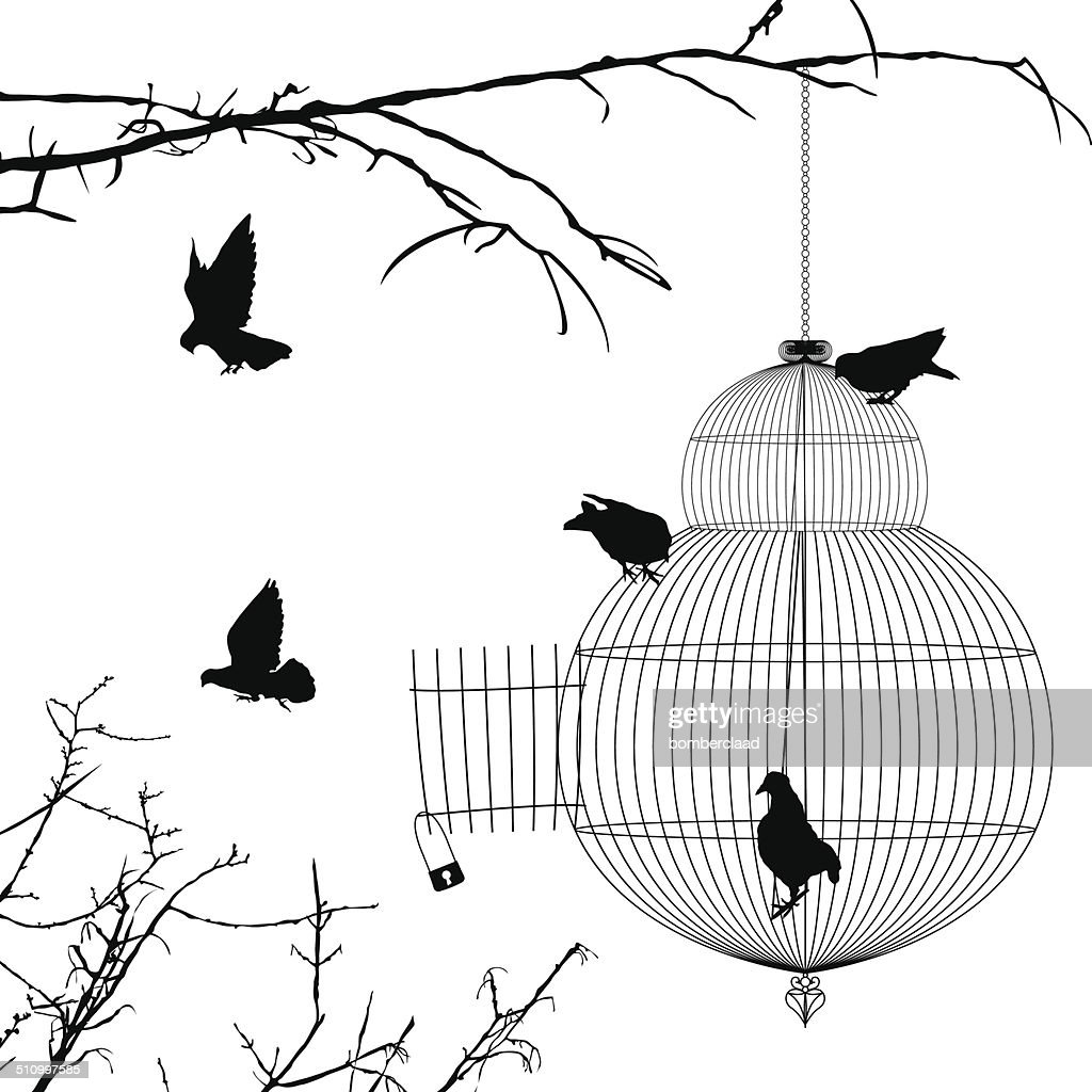 Open cage and birds silhouettes