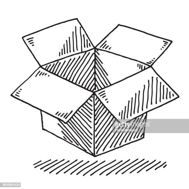 Open Cardboard Box Drawing