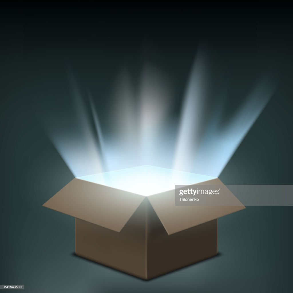 Open cardboard box with a glow inside.