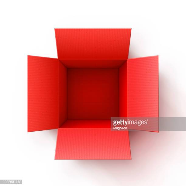 open cardboard red box - opening stock illustrations