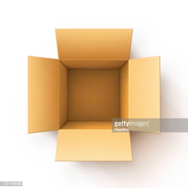 offene karton versandbox - schachtel stock-grafiken, -clipart, -cartoons und -symbole