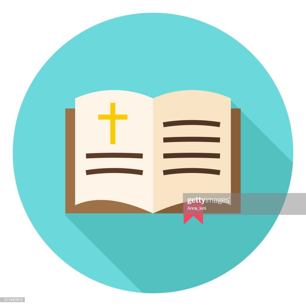 Open Christian Bible Book with Bookmark and Cross Circle Icon