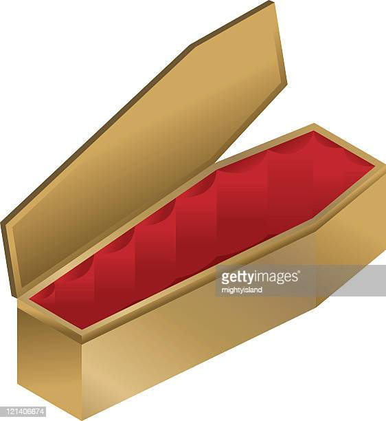 Open coffin on white background