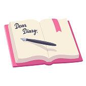 Open diary illustration