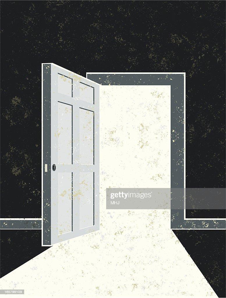 Abra a porta e porta de entrada : Ilustração de stock