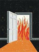 Open Door and Doorway with Flames