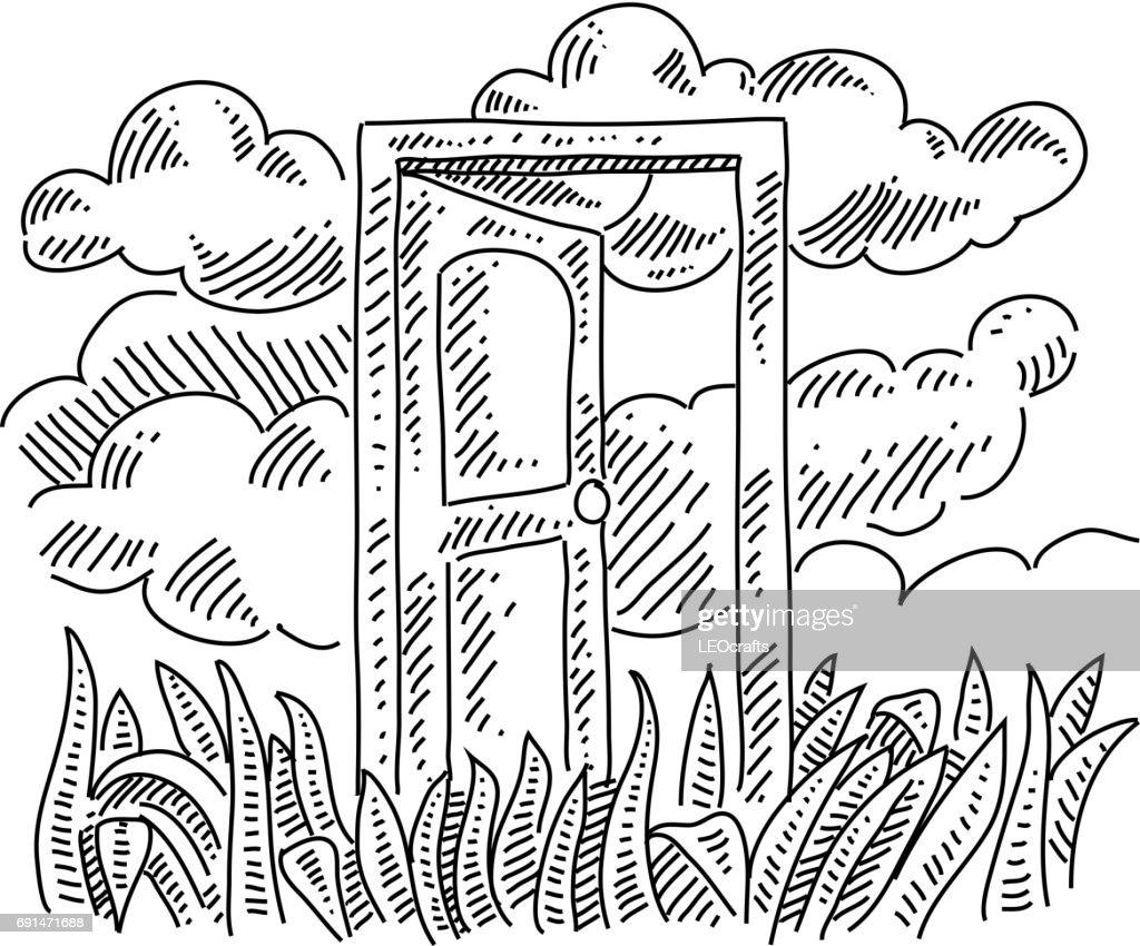 open door drawing white open door concept drawing vector art getty images