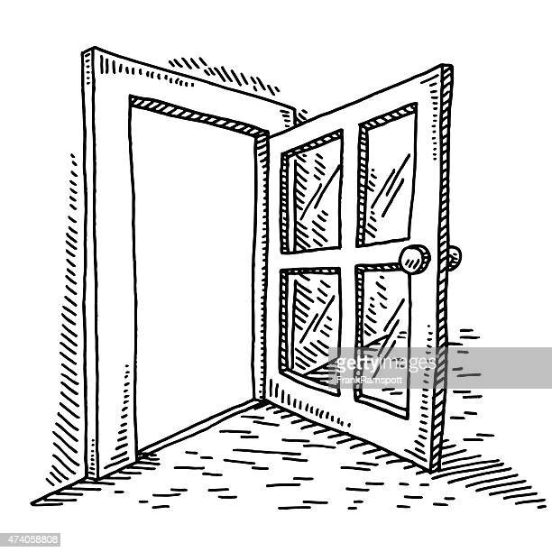 open door drawing - domestic room stock illustrations, clip art, cartoons, & icons