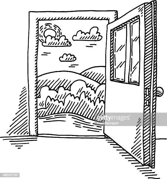 open door freedom concept drawing - door stock illustrations