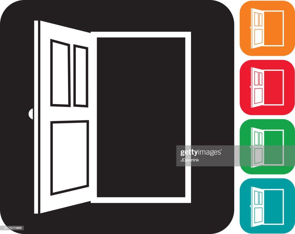 Open door icon set  in multiple colors