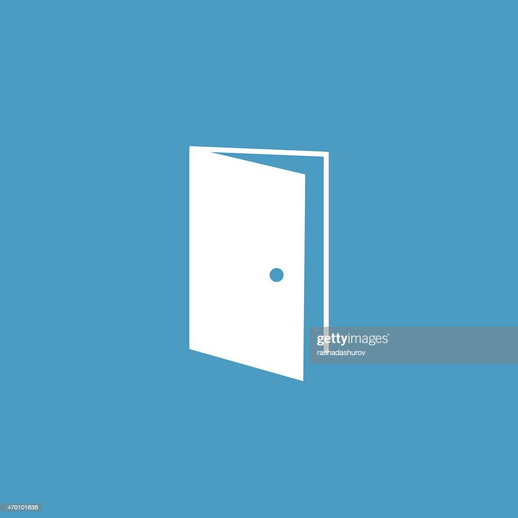 open door icon, white on the blue background