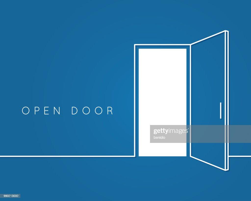 Open door line concept. Blue room logo vector background