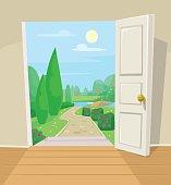 Open door to garden. Vector cartoon illustration