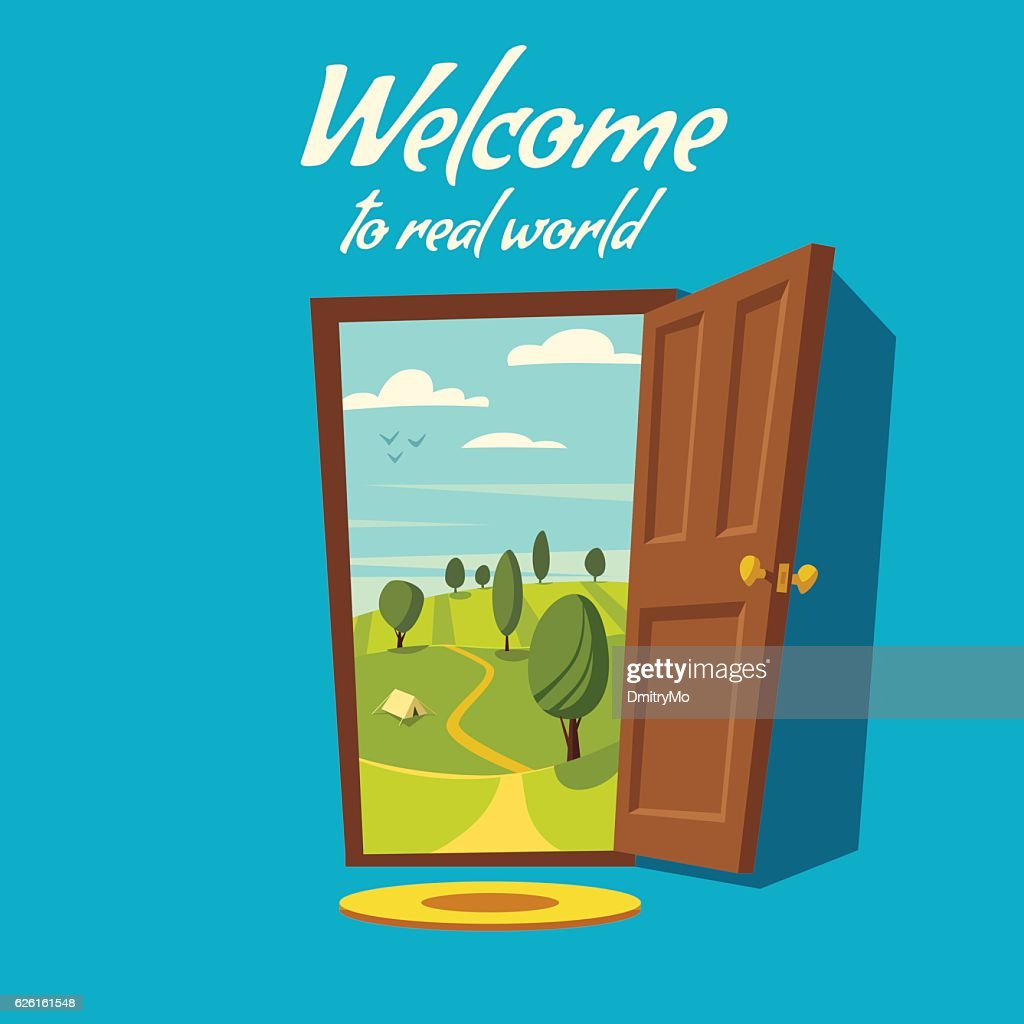 Open door. Valley landscape. Cartoon vector illustration.