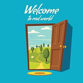 Open door. Valley landscape. Cartoon vector illustration.
