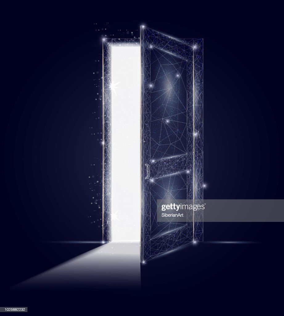 Open door vector geometric polygonal art background